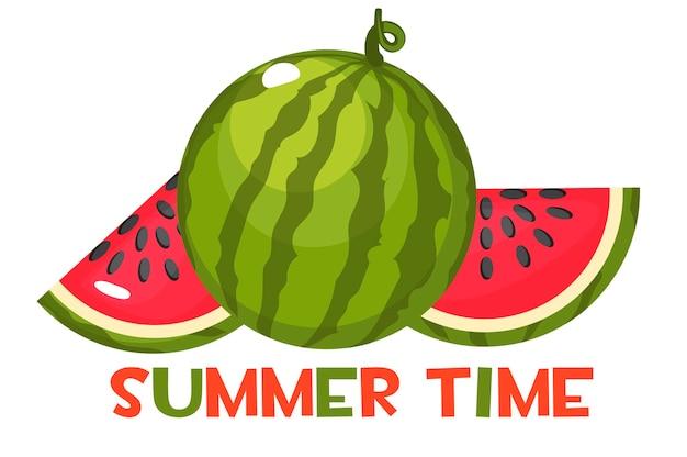 De inscriptie zomertijd en sappige rijpe watermeloen. geheel en plakjes zoete rode watermeloen.