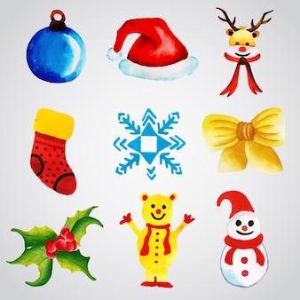 De inzameling van kerst ornamenten van de waterverf