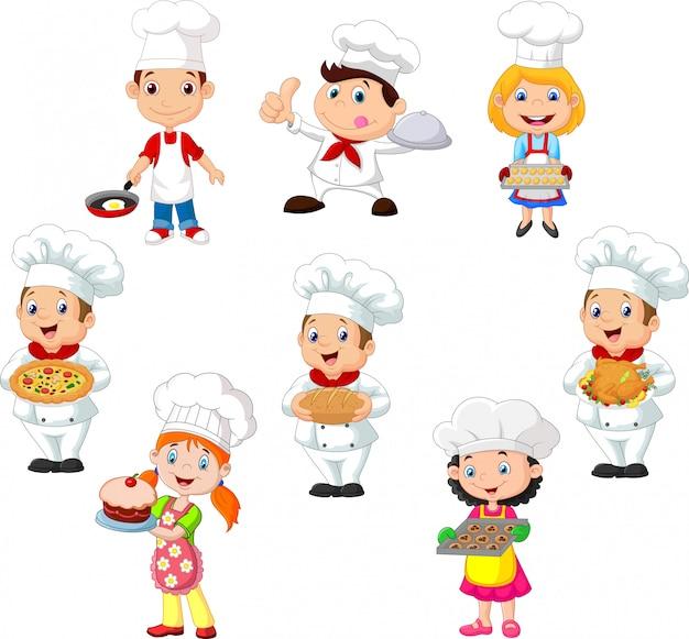 De inzameling van kinderen kookt chef-kok