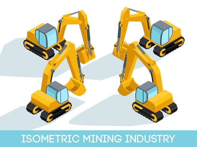 De isometrische 3d mijnbouw, mijnapparatuur en voertuigen isoleerden vectorillustratie