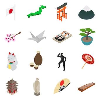 De isometrische 3d pictogrammen van japan geplaatst die op witte achtergrond worden geïsoleerd