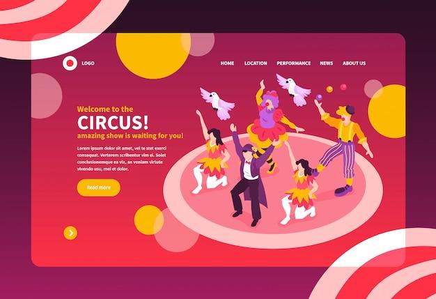 De isometrische circusartiesten tonen het ontwerp van de de bestemmingspagina van de conceptenwebsite met tekst en afbeeldingen vectorillustratie