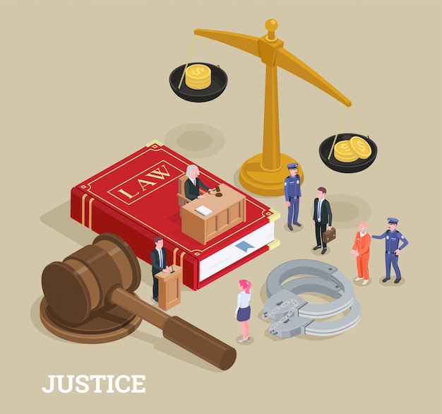 De isometrische conceptuele samenstelling van de wetrechtvaardigheid met kleine mensenkarakters en reusachtig pictogrammenproces van de illustratie van wetssymbolen