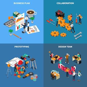 De isometrische die illustratie van de groepswerksamenwerking met de geïsoleerde illustratie van het businessplan symbolen wordt geplaatst