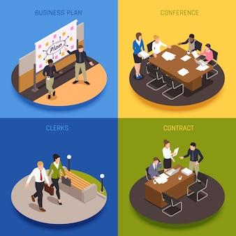 De isometrische die pictogrammen van het bedrijfsmensenconcept met contracten en conferentiesymbolen worden geplaatst isoleerden illustratie