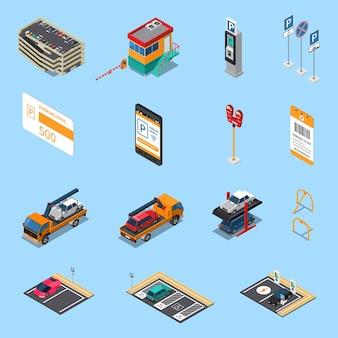 De isometrische die pictogrammen van parkeerterreinenfaciliteiten met geïsoleerd garagepaskaartje op verscheidene niveaus en sleepwagen worden geplaatst