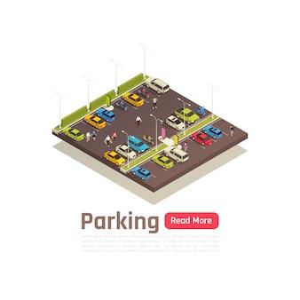 De isometrische en geïsoleerde banner van de stadssamenstelling met parkerenbeschrijving en lees meer knoop vectorillustratie