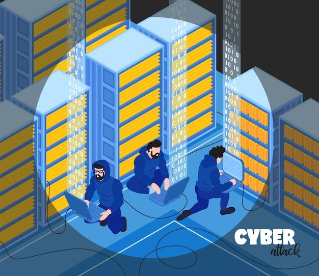 De isometrische hakkersamenstelling met tekst en de mening van hackers groeperen menselijke karakters met de vectorillustratie van serverrekken