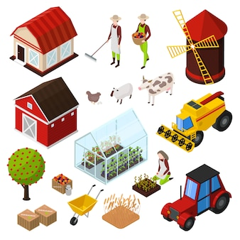 De isometrische pictogrammen van biologische landbouwproducten die met geïsoleerde beelden van agrimotors worden geplaatst, landbouwhuisdieren en planten