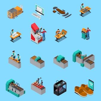 De isometrische pictogrammen van de schoeiselfabriek die met de elementen van de schoenenproductie worden geplaatst