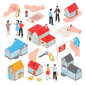 De isometrische reeks van de makelaar in onroerend goed van de verkoopuitwisseling van geïsoleerde pictogrammen van huizenmuntstukken en mensen vectorillustratie