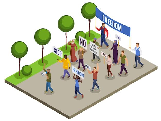De isometrische samenstelling van activisten met groep mensen met afficheluidsprekers op stadsstraat