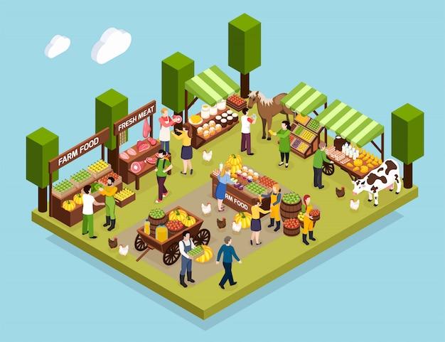 De isometrische samenstelling van de boerenmarkt toonde tellers met verse vleesgroenten, honing en zuivelproducten