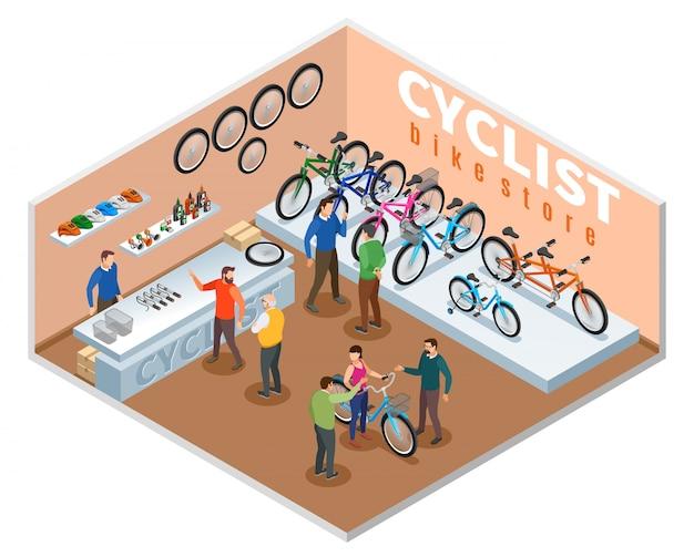 De isometrische samenstelling van de fietsopslag met kopers en handelaaradviseur die de vectorillustratie van fietsmodellen aanbieden