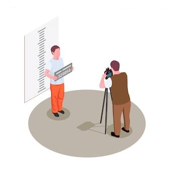 De isometrische samenstelling van de gevangenis met het nemen van vooraanzicht mok schoot politiefoto van gearresteerde misdadige illustratie