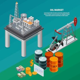 De isometrische samenstelling van de olieindustrie met raffinaderij overzeese platform pumpjack bussen geld 3d isometrische vectorillustratie
