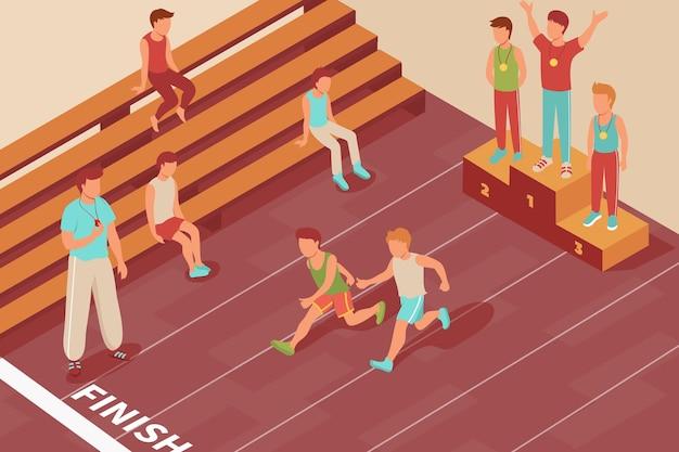 De isometrische samenstelling van de sportconcurrentie met het binnenpodium van de trefpuntoverwinning en renbaan met de lopende illustratie van kinderenkarakters
