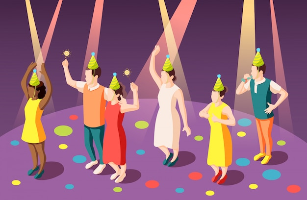 De isometrische samenstelling van de verjaardagspartij met grappige mensen in clownhoeden in schijnwerpersillustratie
