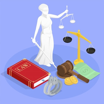 De isometrische samenstelling van de wetsrechtvaardigheid met standbeeld van themis boek van wetspolsbandjes en andere illustratie van jurisdictiesymbolen