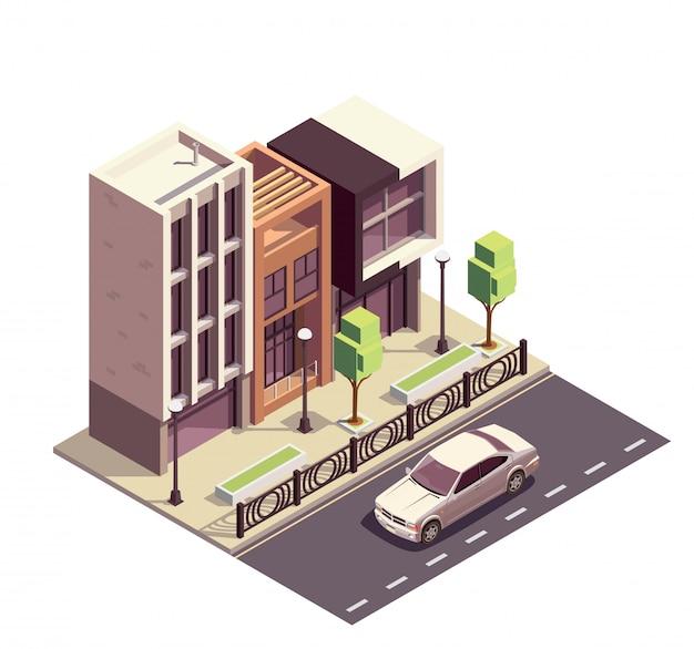 De isometrische samenstelling van herenhuisgebouwen met rij van de bestrating van de moderne huizenstoep en autosnelweg met straatlandschap
