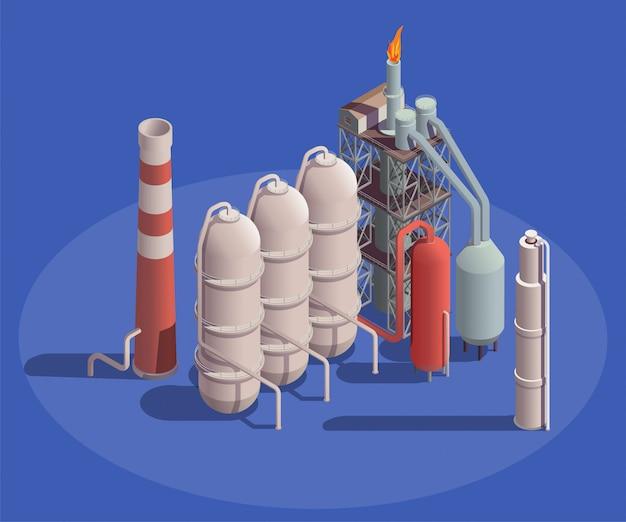 De isometrische samenstelling van industriële gebouwen met mening van de containers van de aardolieverwerkingsinstallatie met pijpen en flambeaulicht
