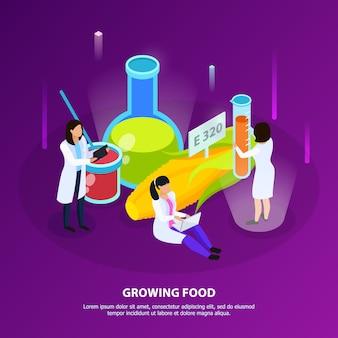 De isometrische samenstelling van kunstmatige voedingsproducten met wetenschappers tijdens het kweken van voedsel op paars