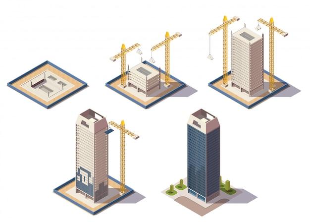 De isometrische samenstelling van stadswolkenkrabbers met geïsoleerde beelden van bouwwerf die verschillende stadia van de vectorillustratie van het bouwproces vertegenwoordigen