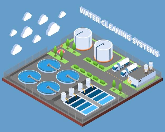 De isometrische samenstelling van water schoonmakende systemen met industriële behandelingsfaciliteiten en de vectorillustratie van leveringsvrachtwagens