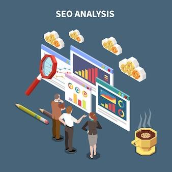 De isometrische samenstelling van webseo met de krantekop van de seoanalyse en drie collega's kijken op abstracte statistieken en grafiekenillustratie