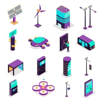 De isometrische slimme reeks van de stadstechnologie geïsoleerde pictogrammen met terminals en futuristische apparaten met krachtcentrales vectorillustratie