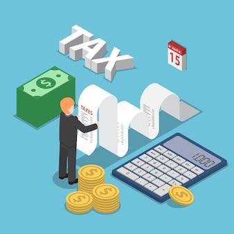 De isometrische zakenman berekent document voor belastingen met calculator