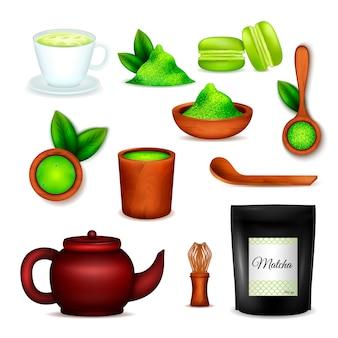 De japanse realistische pictogrammen van het matcha groene poeder die met de kop van de theeceremonie latte worden geplaatst zwaaien desserts