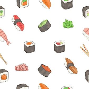 De japanse zeevruchtensushi rolt naadloos patroon. traditioneel eten.