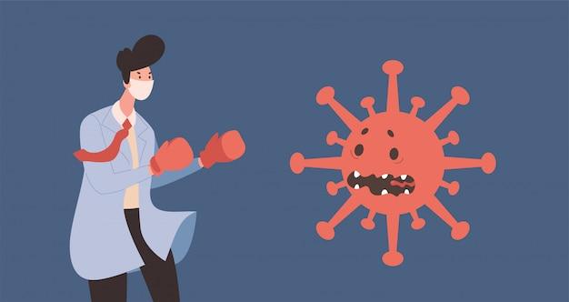 De jonge arts in eenvormig en beschermend gezichtsmasker worstelt met de bange vlakke illustratie van de coronaviruscel.