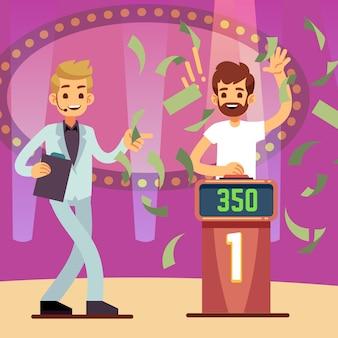 De jonge gelukkige winnaar van het quizspel in de vectorillustratie van de geldregen