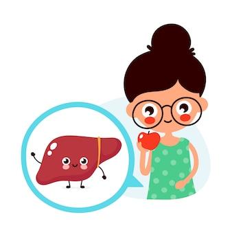 De jonge leuke vrouw eet appelfruit. gelukkig schattige lever in cirkel.
