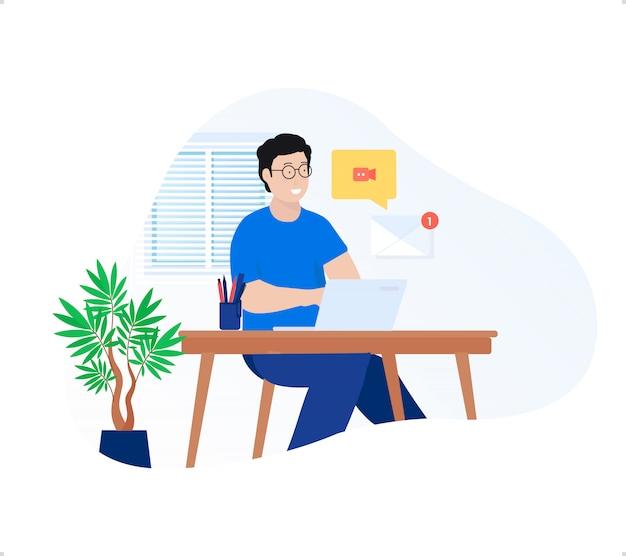 De jonge man freelancer die thuiswerk doet met laptop en e-mailberichtmelding