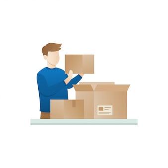 De jonge man opent het pakket