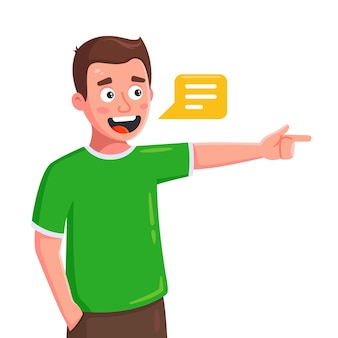 De jonge man spreekt en wijst de richting met zijn vinger. plat karakter geïsoleerd op een witte achtergrond.