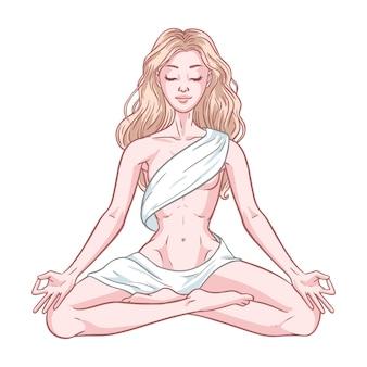 De jonge mediterende yogivrouw in lotusbloem stelt geïsoleerd op witte achtergrond. vector illustratie