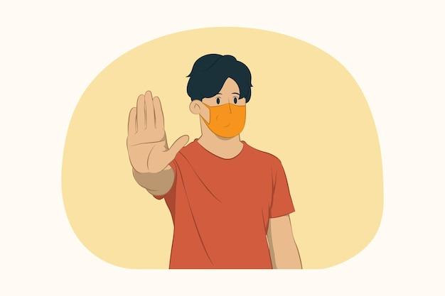 De jonge mens die gezichtsmasker draagt, houdt het concept van het palmgebaar tegen
