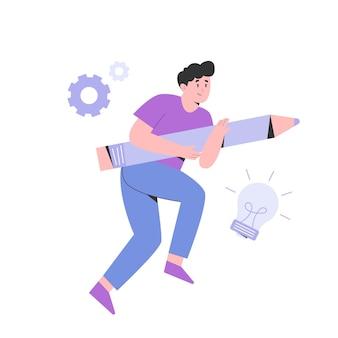 De jonge mens houdt groot potlood voor creatieve oplossingsillustratie