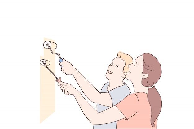 De jonge paarman en de vrouw maken samen reparaties in nieuw huis of appartement.