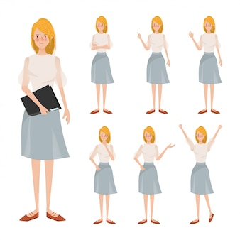 De jonge verschillende animatie van het bedrijfsvrouwenkarakter stelt.