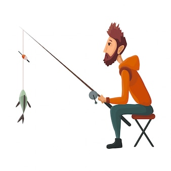 De jonge vissersplaatsing met hengel trekt de gevangen vis terug. gevangen vis. succesvol vissen
