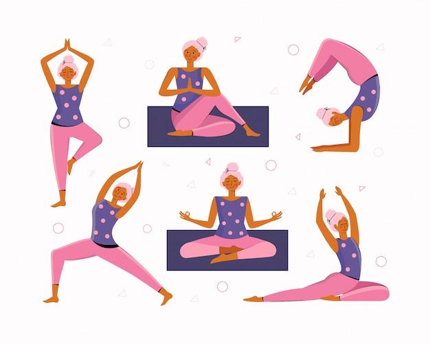 De jonge vrouw doet thuis yoga en meditatie. verzameling van verschillende yoga houdingen en asana's. thuistraining. meisje sporten, oefenen, training in fitness, stretching, opwarmen, vrije tijd. vlak.
