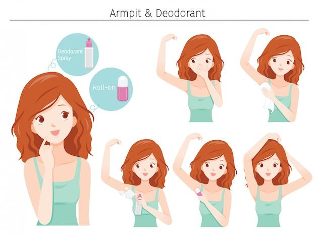 De jonge vrouw geeft oksel met deodorant