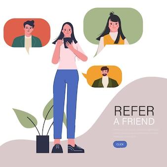 De jonge vrouw heeft een vriend doorverwezen met een smartphone, verwijst naar het vriendenconcept