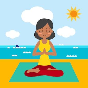 De jonge vrouw het praktizeren yoga in lotusbloem stelt.