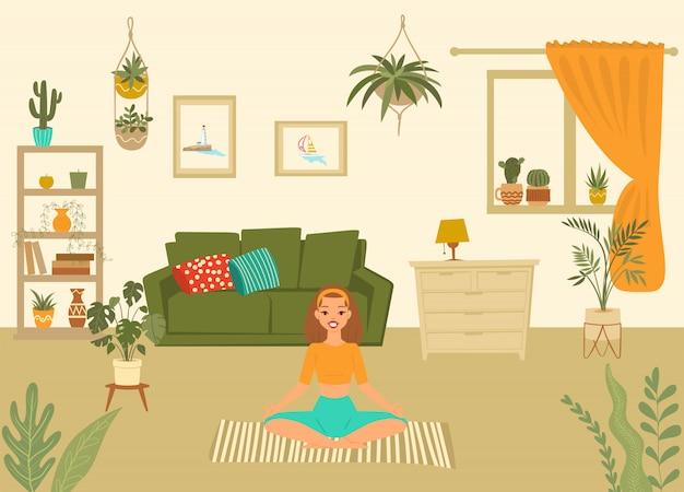 De jonge vrouw in yoga stelt thuis het mediteren van beeldverhaalillustratie, meisje die aerobicsoefening en ochtendmeditatie uitvoeren.